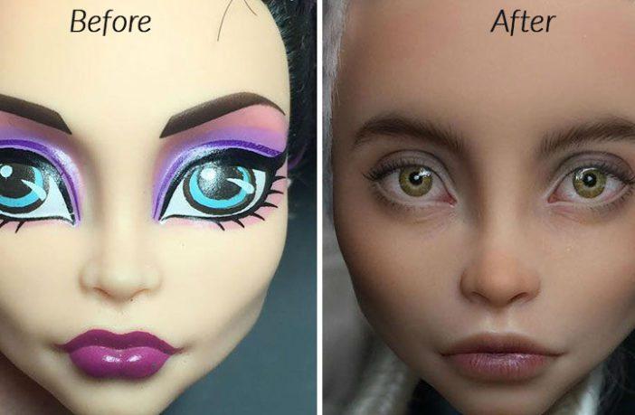 """Artista ucraniano le quita el maquillaje a las muñecas y les da un impresionante aspecto """"realista"""""""