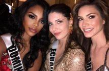 Miss RD Universo, Clauvid Daly, junto a las candidatas de Ecuador y Argentina.