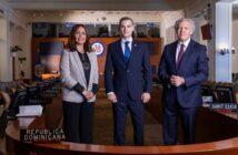 Embajadora Anabel Bueno, representante alterna; Josue Fiallo, de la misión permanente de la OEA en el país; y el secretario general Luis Almagro.